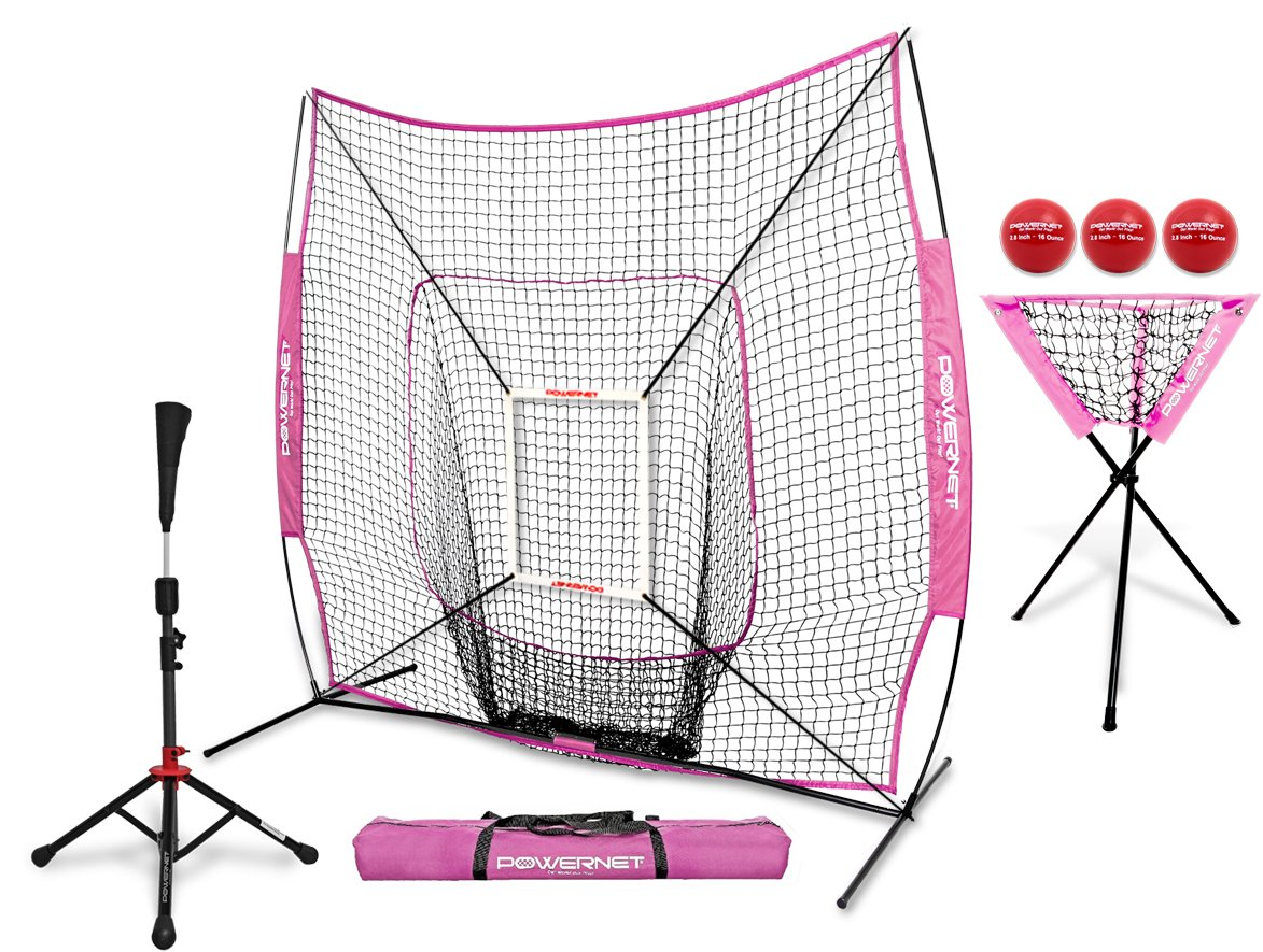PowerNet 7x7 DLX Practice Net + Deluxe Tee + Ball Caddy + 3 Pack Weighted Ball + Strike Zone Bundle (Pink) | Baseball Softball Coach Pack | Pitching Batting Training Equipment Set | 7' x 7'