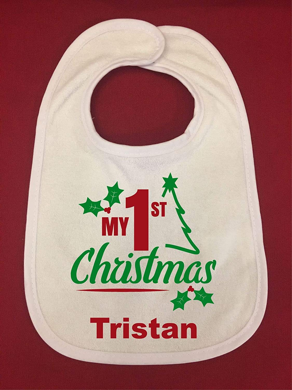 Christmas Bib Great Baby Gift Personalised Red /& White Baby Bib