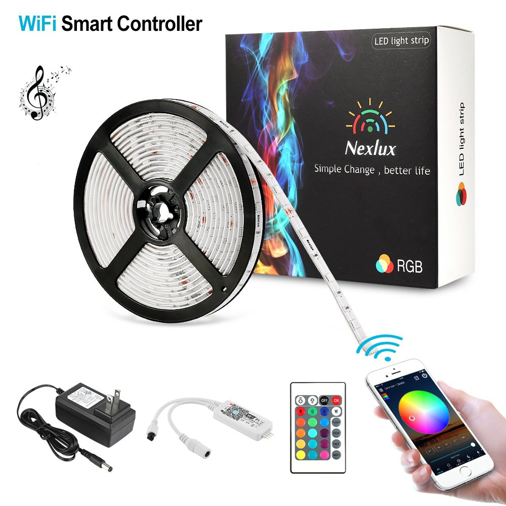 Nexlux LED Strip, Alexa Echo Controlled 16.4ft Wireless LED Light Strip Color Changing Kit 150leds Flexible Strip 5050 Waterproof IP65, Working with Android and iOS System Smartphone YPL0046M-2