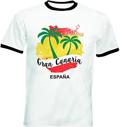 teesquare1st Gran Canaria Canary Islands Tshirt de Hombre con Bordes Negros T-Shirt: Amazon.es: Ropa y accesorios