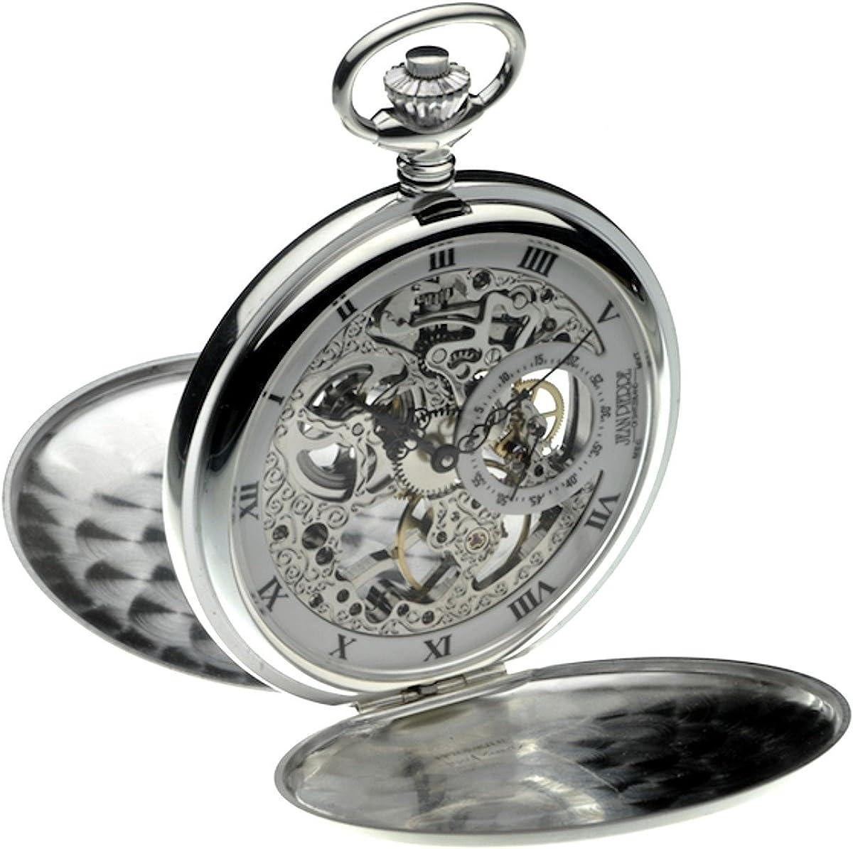 Jean Pierre Reloj de bolsillo doble Hunter de plata de ley LWF_G146