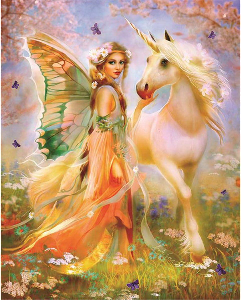 5D Diamond pintura de diamantes,Sunnay Caballo de hadas Grandes Mariposas Cuadro por Principiantes Infantil Princesas Christmas,20 x 25 cm