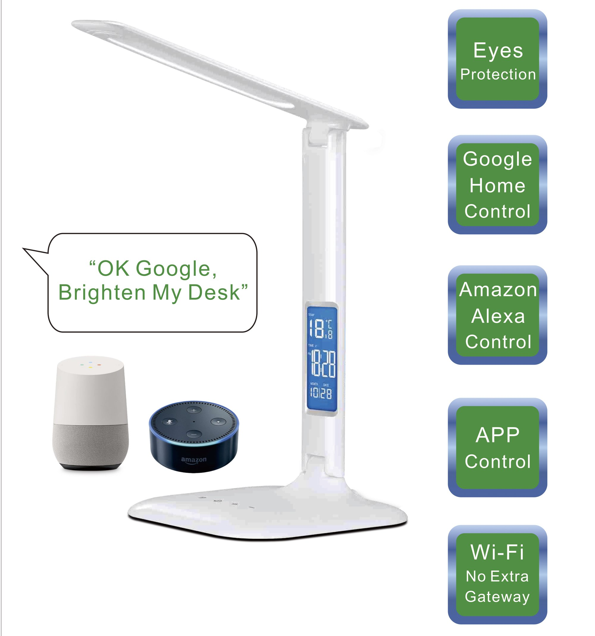 Smart WiFi Alexa Google Assistant Control LED Desk Lamp with Eye Caring Reading Light, 3 Lighting Mode, 5-Level Dimmer, Touch Control, Built-in Clock, Calendar, Thermometer by 3A Nue (Image #2)