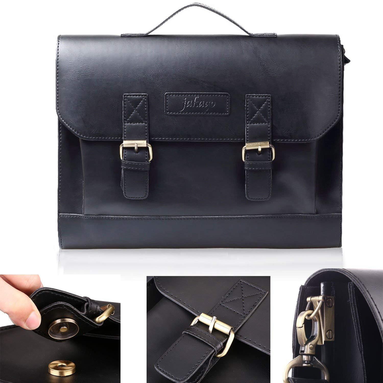 JAKAGO 14.6 Inch Vintage PU Leather Briefcase Laptop Shoulder Messenger Bag Tote School Distressed Bag for Women and Men by JAKAGO (Image #4)