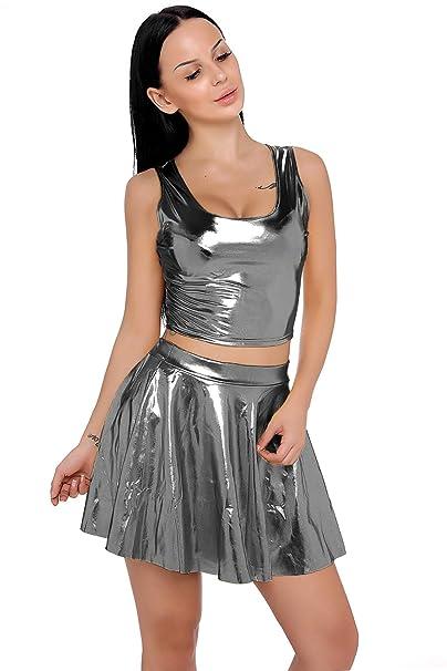 da33d6a4663e59 RIKKI Women s 2-Pieces Liquid Wet Look Shiny Crop Tank Top Pleated Skirts  Set (OneSize