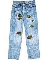 Unisex-Adult Faux Ripped Denim Blue Jeans Camo Lounge Pants
