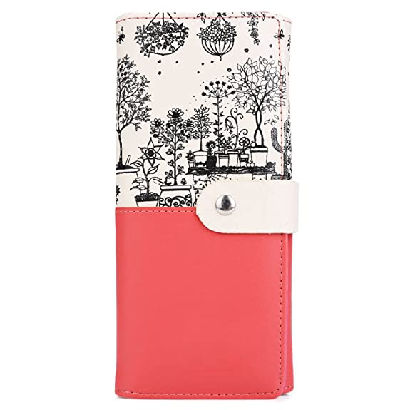 KEBINAI Women Gift Clutch Wallet PU Leather Print Purses Hasp Long Wallet Female Money Bags Handbag Carteras Mujer Monederos BlackOne Size: Handbags: ...