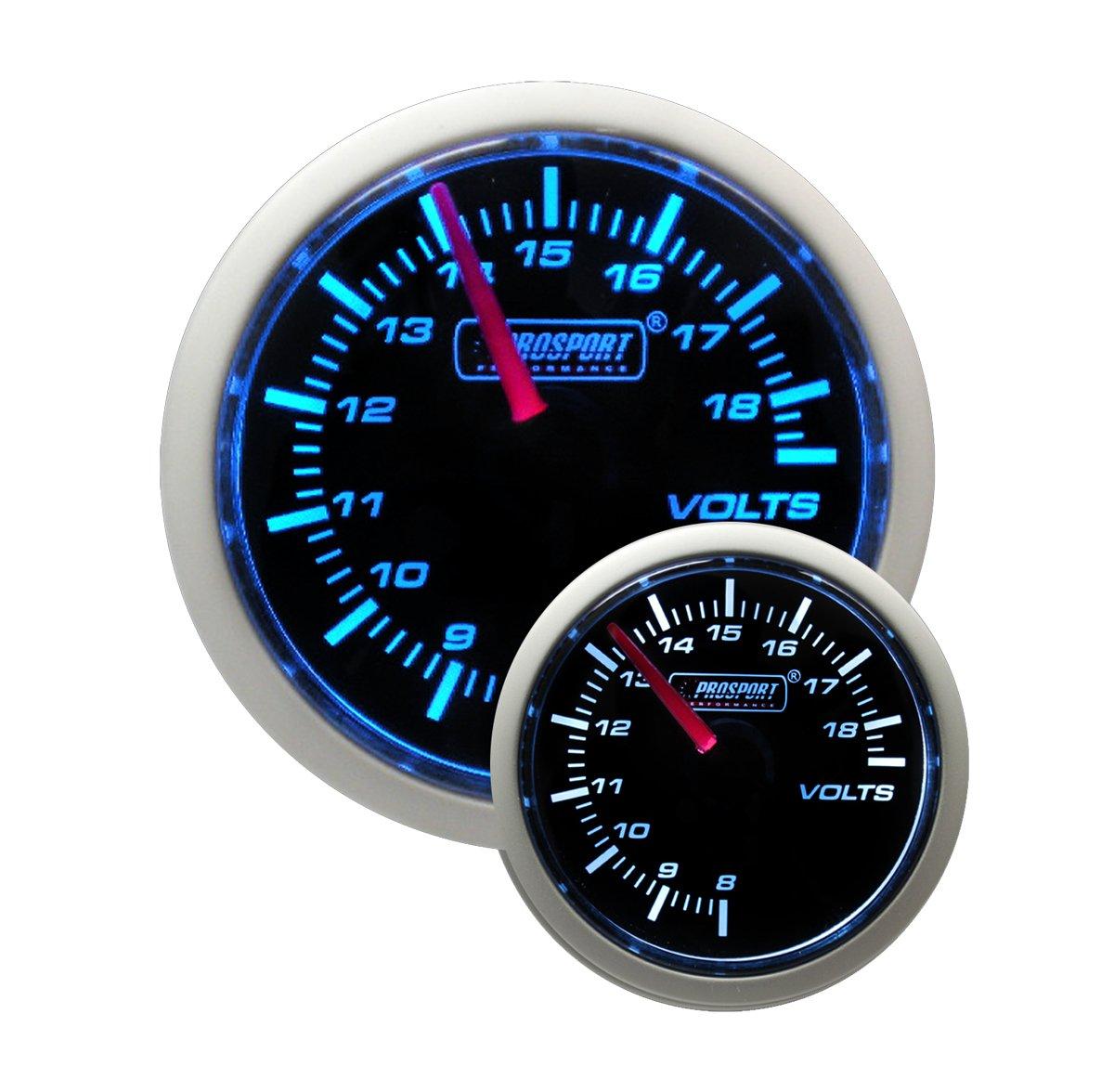 Volt Gauge- Electrical Blue/white Performance Series 52mm (2 1/16') Prosport Performance 216BFWBVO-SM