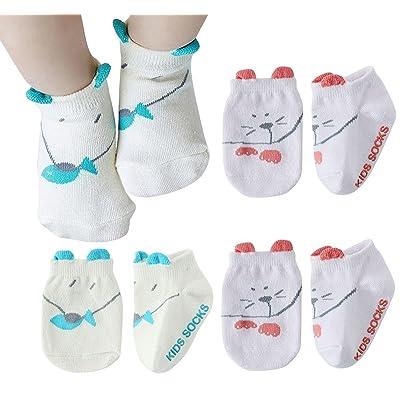 Happy Cheery – Lot de 4 paires de Chaussettes de fantaisie Chaussons à motif de Chat pour bébé 0-24 mois - Chaussettes Soft Antidérapantes ABS