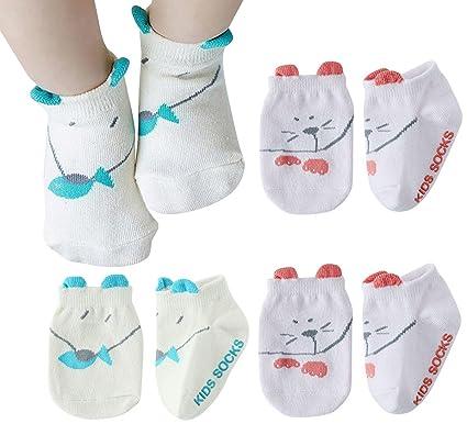Happy Cherry - 4 Pares Bebés Calcetines Divertidos Antideslizantes para Baby Niñas Niños Calcetines Cortos de