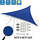 """DOEWORKS 16'5""""x16'5""""x23' Right Triangle Sun Shade Sail with Hardware Kits, Shade for Patio Outdoor Garden, Blue"""