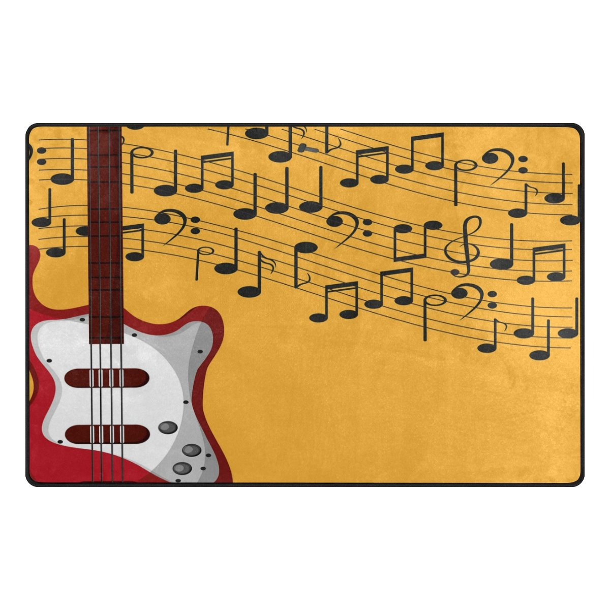 WOZO Yellow Black Music Note Red Guitar Area Rug Rugs Non-Slip Floor Mat Doormats Living Room Bedroom 31 x 20 inches g3327195p146c161s240