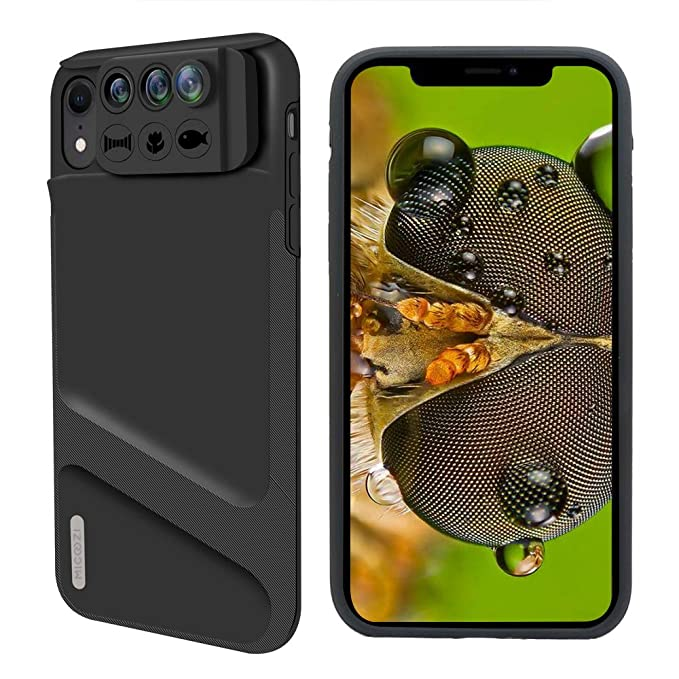 super popular d626f f8ad7 iPhone XR Lens, 3 in 1 Phone Camera Lens Kit [ 180 Degree Fisheye, 0.65X  Super Wide Angle, 10X Macro Lens ] with Phone Protective Case Cover for  Apple ...