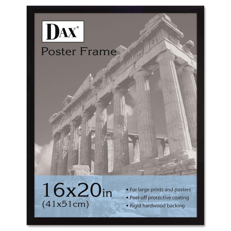 DAX 2860V2X Flat Face Wood Poster Frame, Clear Plastic Window, 16 x 20, Black Border