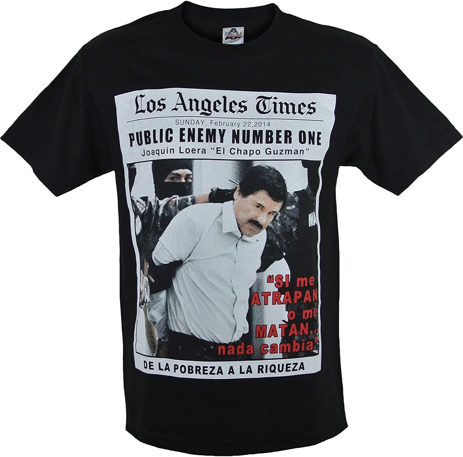 Amazon.com: El Chapo Public Enemy Men's T-Shirt: Clothing