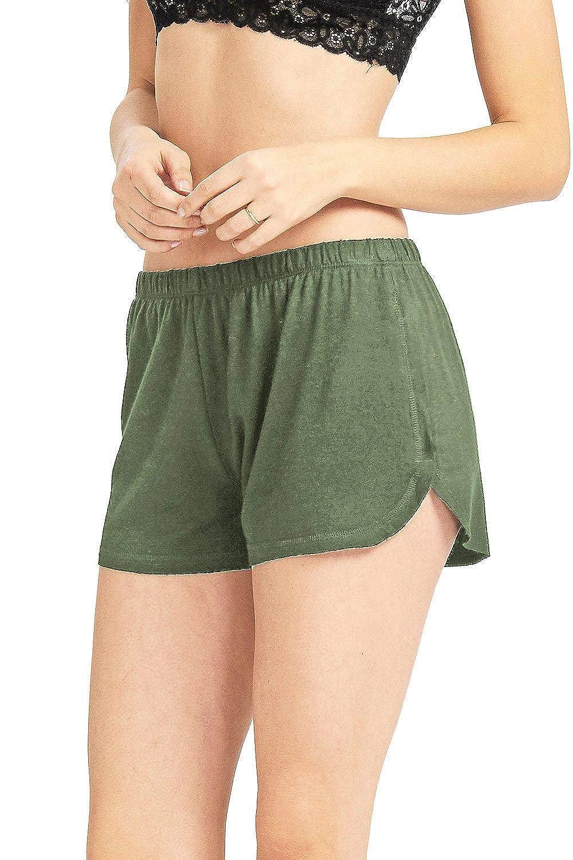 New Olive Double & Zero Women's Juniors Light & Thin Mid Waist Lounge Shorts