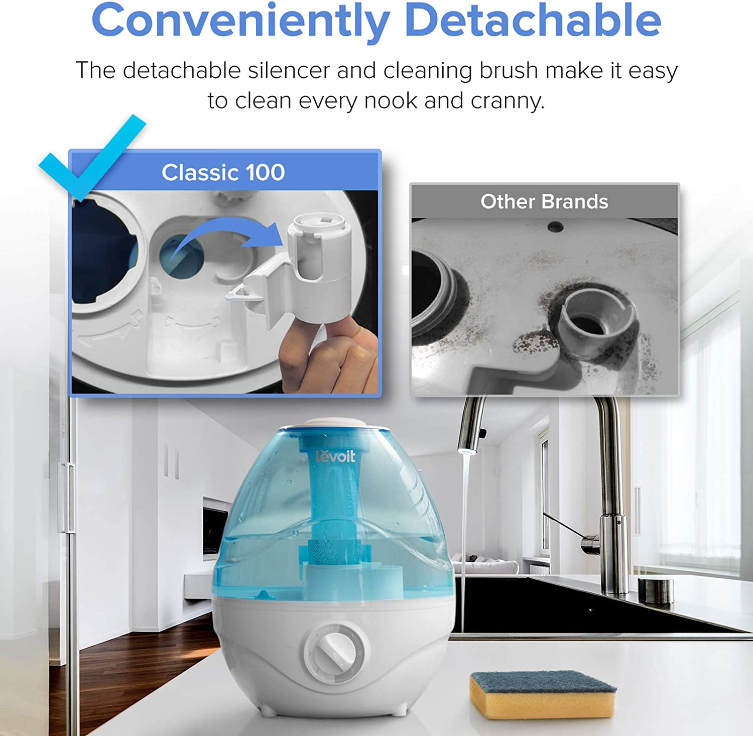 Levoit 2400ml Humidifiers for Bedroom, Ultrasonic Cool Mist Humidifier for Baby, BPA Free, 24 Working Hours, Night Light, Waterless Auto Off, 24dB