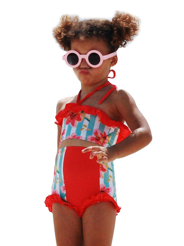 Jaea Kids Little Girls Blooming Coral Ruffles Lulu 2 Pcs Swimsuit 2T 6X
