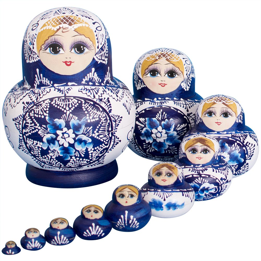 YAKELUS 10pcs Russian Nesting Dolls Matryoshka handmade1070 by YAKELUS