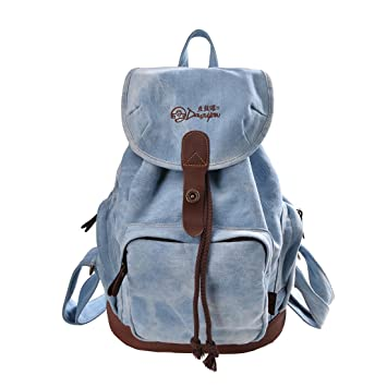 0f699dfffd25 Amazon.com  Douguyan Women Backpack Fashion Fabric Backpack School Bookbag  Campus Backpack (Light blue)  Civic Sister