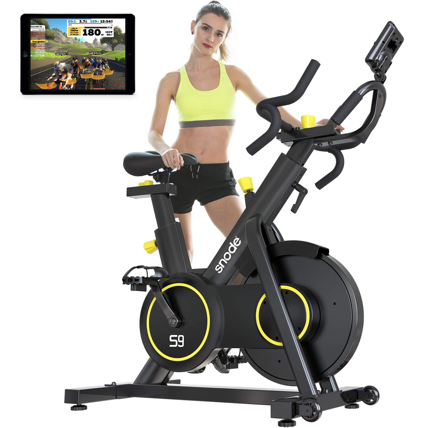 SNODE Magnetic Exercise Bike S9 with APP- Professional Cycling Bike with 4-way Adjustable Multifunctional Handlebar, Compatible with ZWIFT, Kinomap, Iconsole - Max 331 lbs