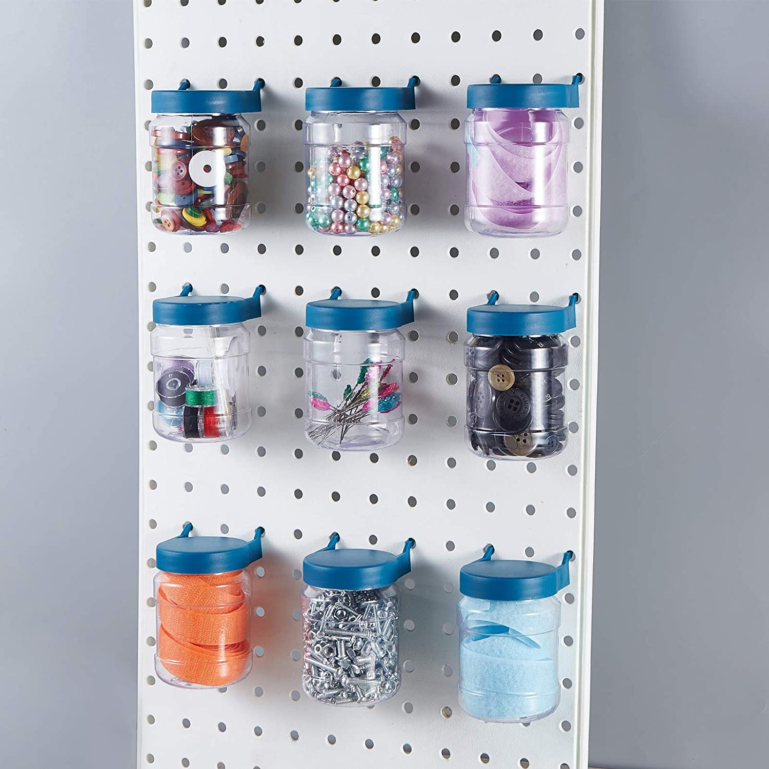 12PCS Pegboard Garage Craft Room Accessories Sewing Storage Organizer Jars Peg Boards Bins Crush and Impact Resistant Box
