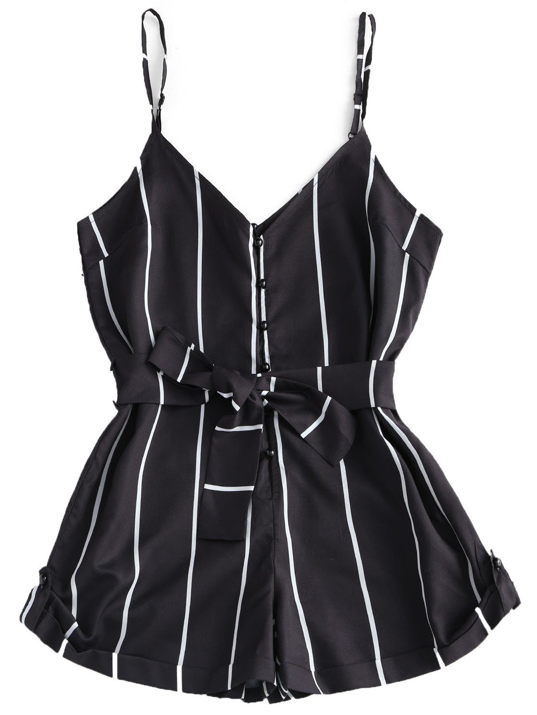 Women Playsuits Girls Clothes Short Jumpsuits Women's Clothing S-XL Black L