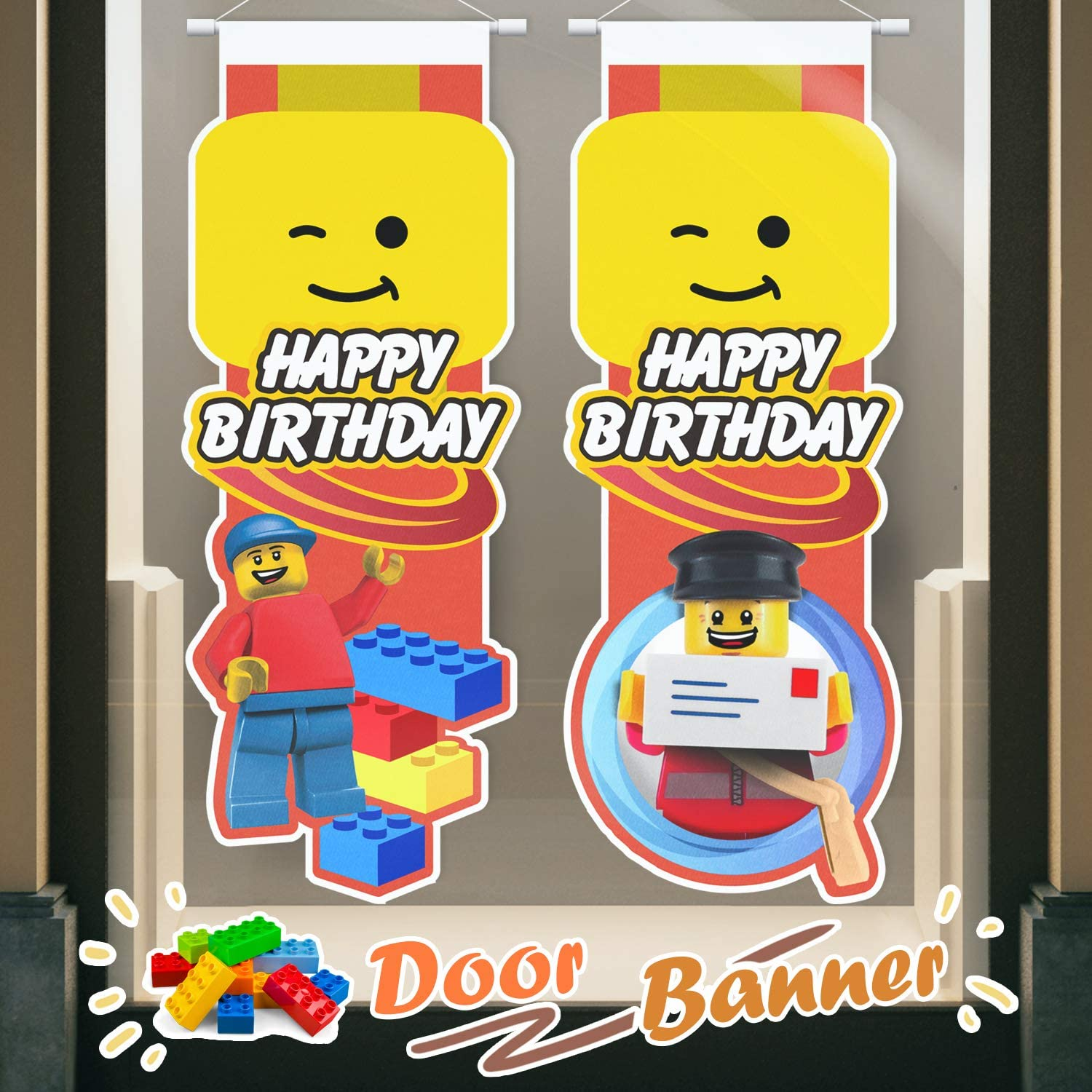 Building Block Happy Birthday Door Banner Brick and Block Themed Hanging Yard Porch Sign Party Decorations Supplies