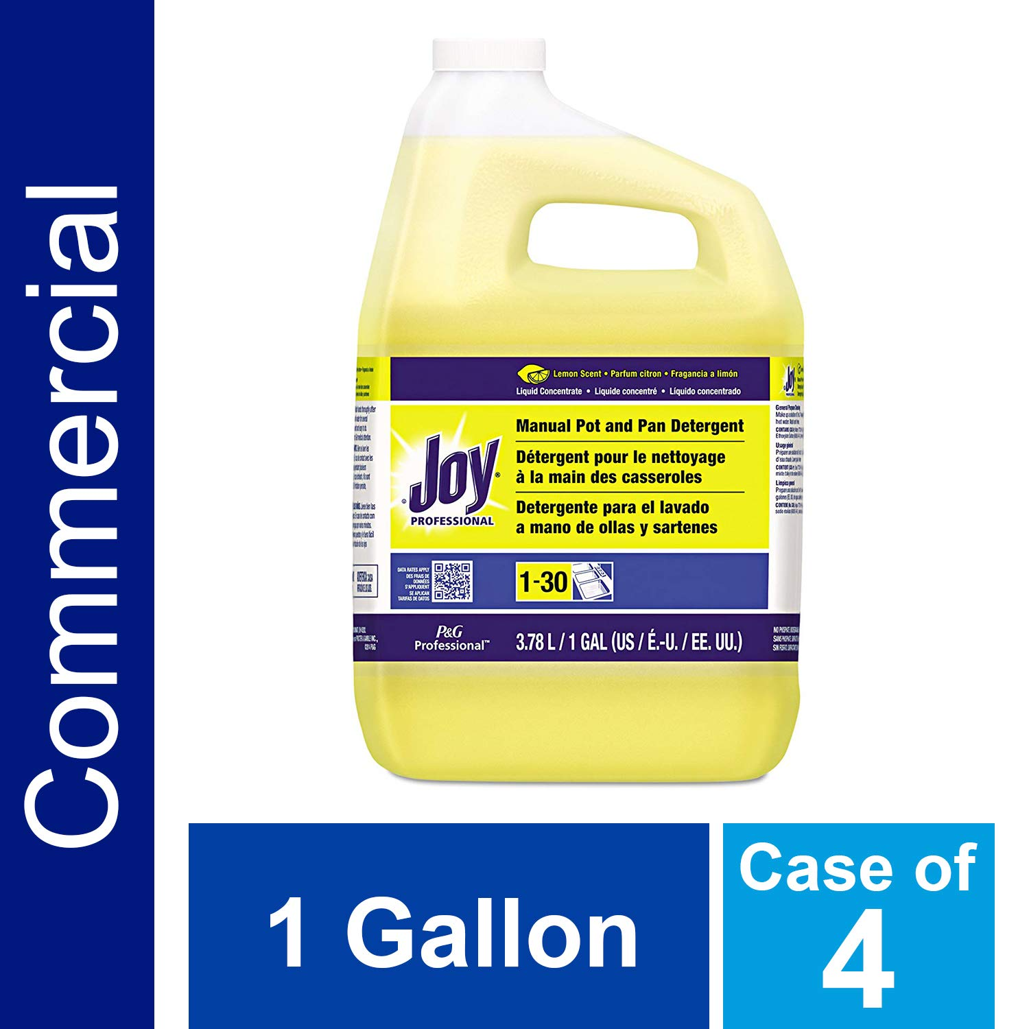 Dishwashing Liquid Soap Detergent by Joy Professional, Bulk Degreaser Removes Greasy Foods from Pots, Pans and Dishes in Commercial Restaurant Kitchens, Lemon Scent, 1 gal. (Case of 4) by P&G Professional