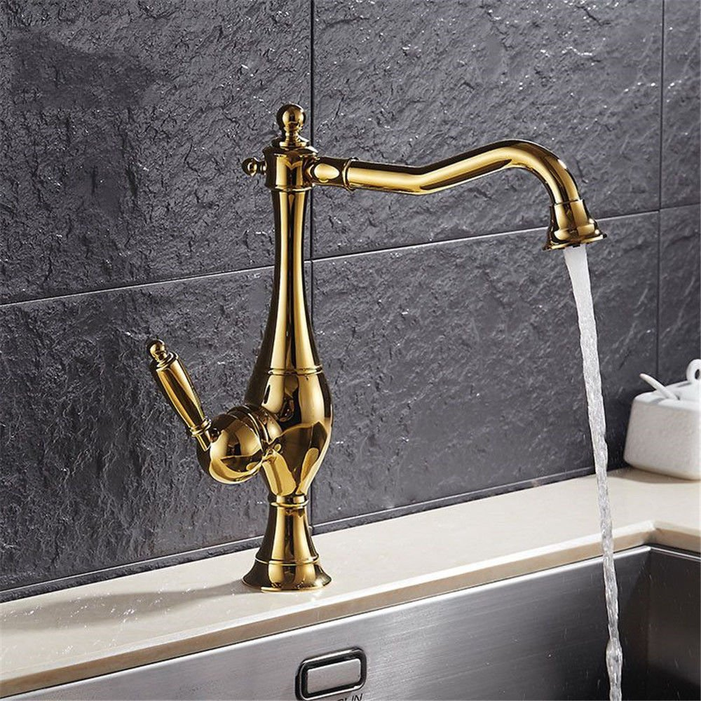Commercial Kitchen Faucet Stainless Handle Pull Out Kitchen Sink faucetCopper Kitchen Faucet 360° redatable Sink Sink Faucet hot and Cold Mixing Valve gold Single Hole Single Handle Basin Faucet
