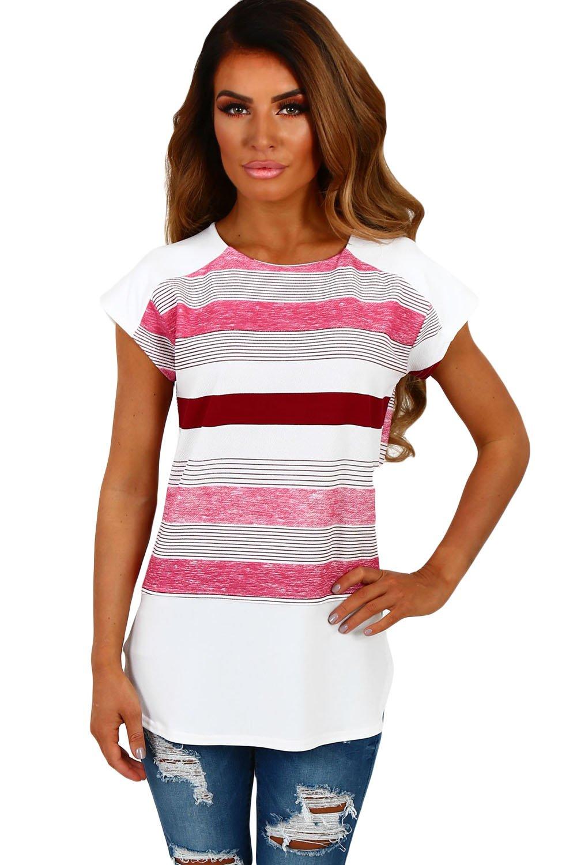 Nuevas señoras blanco y rosa rayas Cap manga blusa Club wear Tops Casual Wear ropa tamaño M UK 10–12...