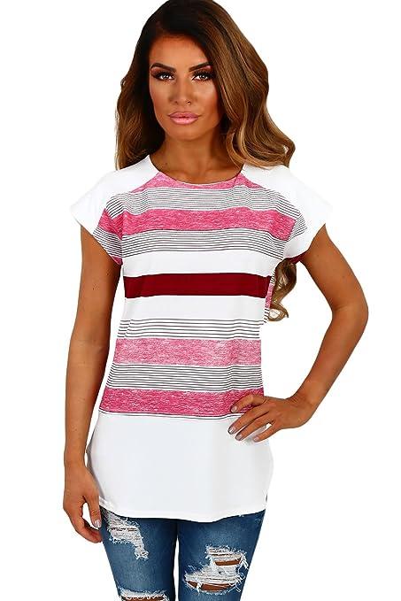Nuevas señoras blanco y rosa rayas Cap manga blusa Club wear Tops Casual Wear ropa tamaño