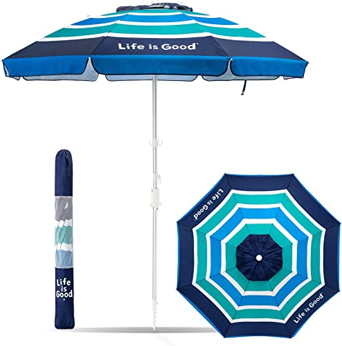 Life is Good ALIGUMB-GB-1PK Beach Umbrella with Sand Anchor, Towel Hook, and Tilting Pole, Green Blue