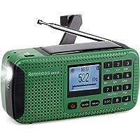 Retekess HR-11S Emergency Radio Solar Hand Crank Radio AM FM Shortwave Radio Dynamo Wireless MP3 Player USB Charger Cable Digital Recorder Flashlight Alert Red SOS for Camping (Green)