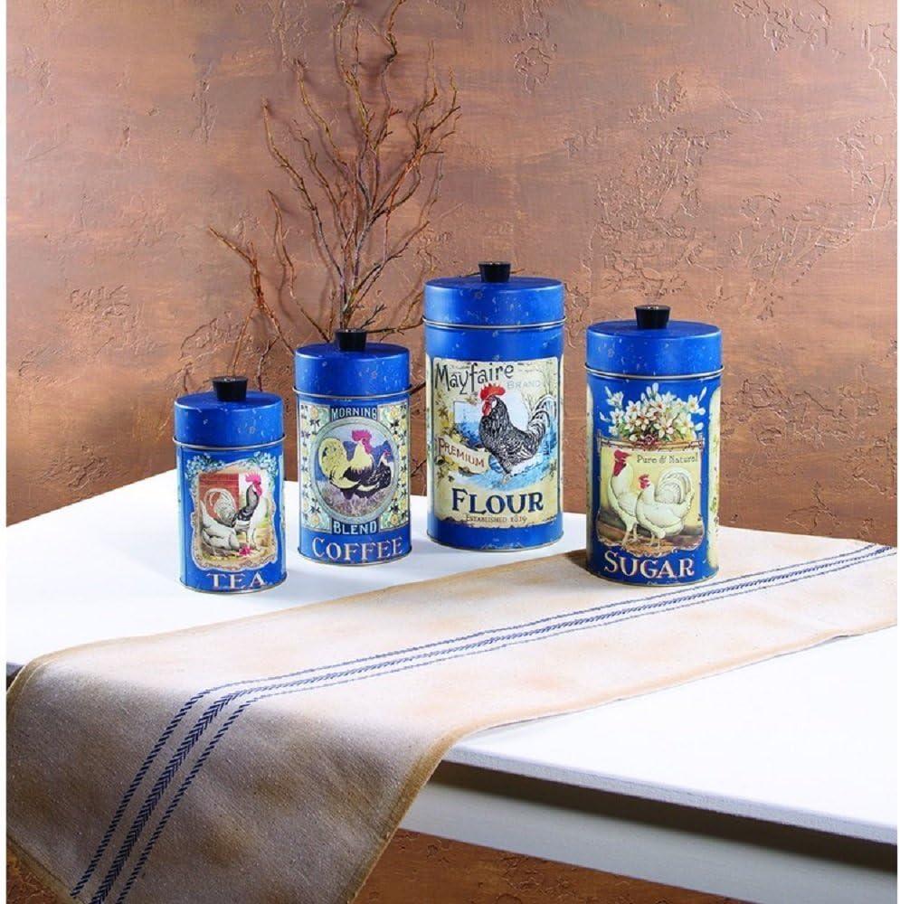 Set //4 Tin Food Safe French English Canisters Flour Sugar Coffee Tea