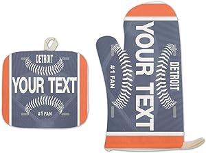 Bleu Reign BRGiftShop Personalized Custom Name Baseball Team Detroit Linen Oven Mitt and Potholder Set