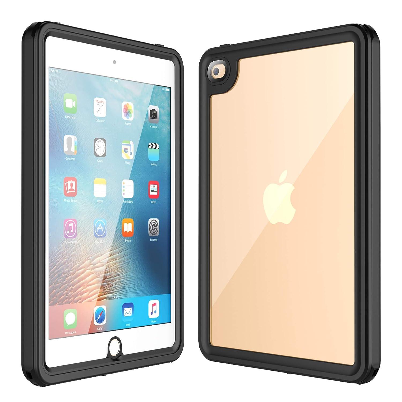 iPad Mini 4 防水ケース フルボディ 内蔵スクリーンプロテクター 頑丈 クリア iPad Mini 4ケース 防水 耐衝撃 防塵ケース iPad Mini 4(7.9インチ)用キックスタンド付き ブラック/クリア   B07LD3RC55