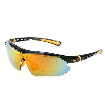 Asvert Lunettes de Soleils Polarisées Sportives avec 5 Verres Interchangeables UV400 Protection pour Vélo Ski Pêche Unisexe (Noir) ODq376R