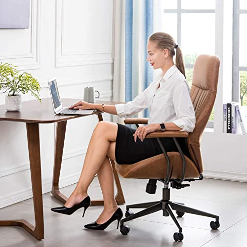 ovios Ergonomic Office Chair,Modern Computer Desk Chair,high Back Suede Fabric Desk Chair with Lumbar Support for Executive or Home Office Brown