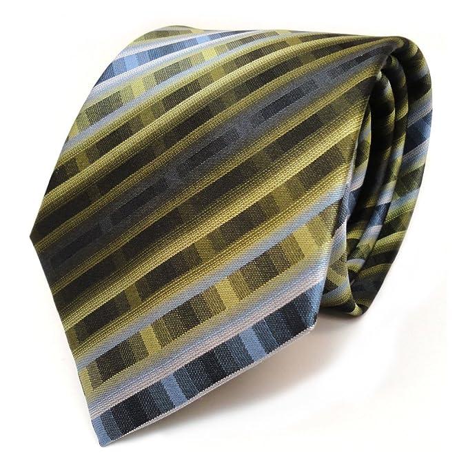Corbata de seda - verde oscuro azul gris rayas: Amazon.es: Ropa y ...