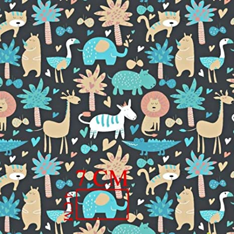 Elefante jirafa león gris oscuro multicolor 100% algodón tela ...