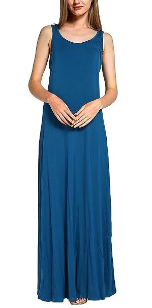 Urban GoCo Mujeres Casual Playa Vestido Maxi Sin Mangas Camiseta Vestido Largo (S, Azul