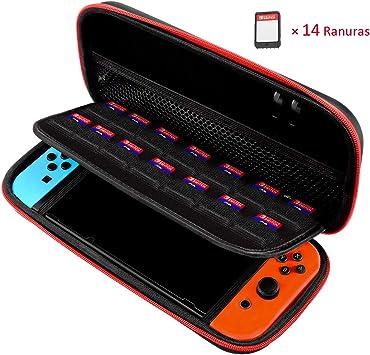 TOPELEK Funda para Nintendo Switch, EVA Shell, 14 Ranuras para ...