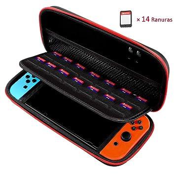 TOPELEK Funda para Nintendo Switch, EVA Shell, 14 Ranuras ...