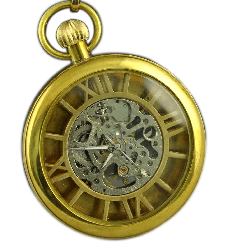 Vigorosoメンズアンティーク銅スケルトンHand Winding半透明スチームパンク機械ポケット時計 B00XVXLCHI