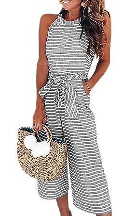 Amazoncom Elsofer Womens Striped Wide Leg Sleeveless Belted