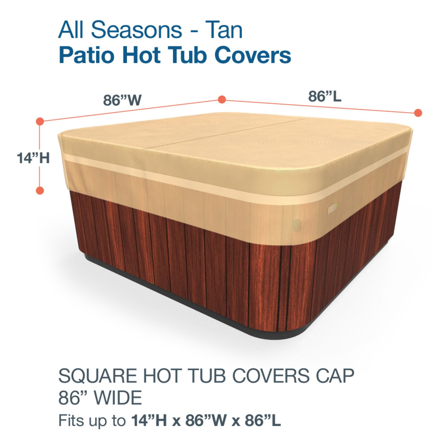 Amazon Budge All Seasons Square Hot Tub Cover Medium Tan