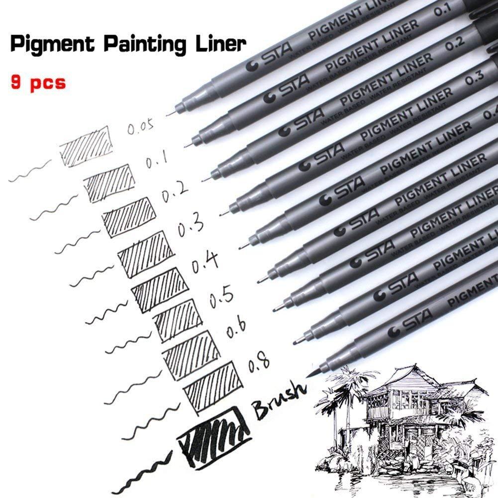 Fineliner penne, AukCheire 9 Pezzi Nero Pigmento Pennarelli Micro penne di Spessori Differenti per illustrazione Artisti Disegno Tecnico Scrapbooking Documenti di Ufficio