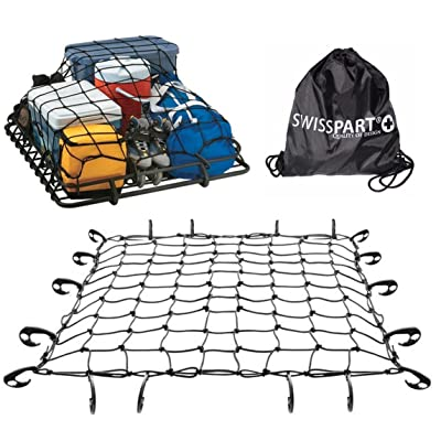 """Swiss Part Black Rooftop Cargo Net Set 47"""" x 36"""" Stretches to 70"""" x 52"""" with 18 Adjustable Hooks for Car Roof Rack Basket Truck Bed Rear Netting: Automotive"""