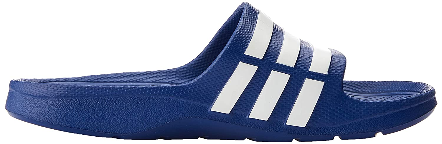 abacb36b4 Adidas Men s Duramo Slide Blue and White Flip-Flops and House Slippers - 12  UK  Buy Online at Low Prices in India - Amazon.in